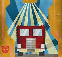 Transformers - Optimus Prime - Art Deco Style by Firenutdesign