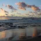 Mooloolaba beach Qld AU reflections by Jeannine de Wet