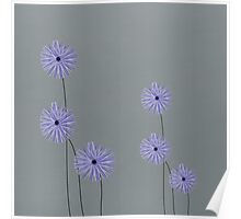 Blue tall flowers Poster