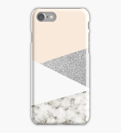 White marble and silver glitter iPhone Case/Skin