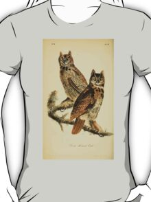 James Audubon Vector Rebuild - The Birds of America - From Drawings Made in the United States and Their Territories V 1-7 1840 - Great Horned Owl T-Shirt