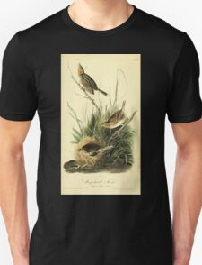 James Audubon Vector Rebuild - The Birds of America - From Drawings Made in the United States and Their Territories V 1-7 1840 - Sharp Tailed Finch T-Shirt