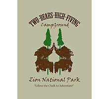 Two-Bears High Fiving Campground Photographic Print