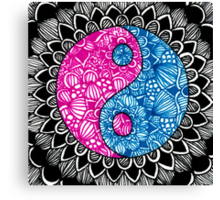 Yin Yang Zentangle Canvas Print