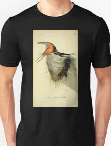 James Audubon Vector Rebuild - The Birds of America - From Drawings Made in the United States and Their Territories V 1-7 1840 - Barn or Chimney Swallow T-Shirt