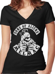 Sons of Aliens: ALF Women's Fitted V-Neck T-Shirt