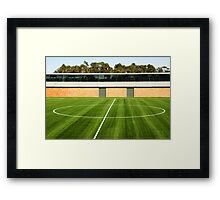 Centerline of an empty soccer stadium Framed Print