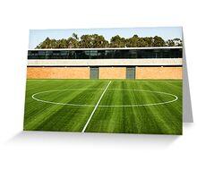 Centerline of an empty soccer stadium Greeting Card