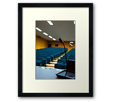 Microphone in an empty auditorium Framed Print