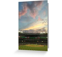 Sunset at Yankee Stadium Night Game Greeting Card
