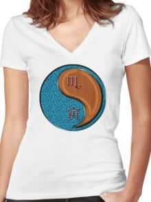 Scorpio & Tiger Yang Wood Women's Fitted V-Neck T-Shirt
