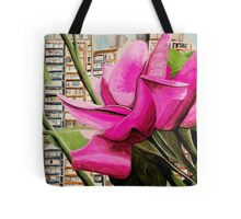 Pink flowers in residential area Tote Bag