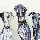Silver and her pups by Elle J Wilson