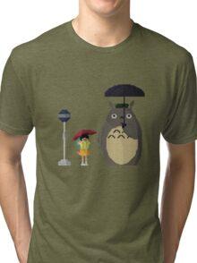 Totoro Bus Stop Pixelated Tri-blend T-Shirt
