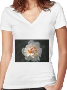 Blooming Double Daffodil  Women's Fitted V-Neck T-Shirt