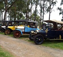 Row of Veteran Cars - Drouin Golf Club by Bev Pascoe
