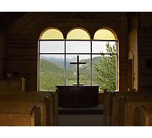 Christian Cross inside Historic Chapel overlooking mountains Photographic Print
