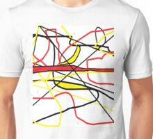 Abstract in Red, Yellow, & Black... on White Unisex T-Shirt