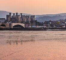 Conwy Castle and harbour at dusk by Paul Madden