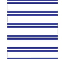 Blue and White Stripe Pattern  Photographic Print