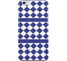 Blue, White Stripe and Checkered Pattern  iPhone Case/Skin