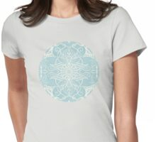 Floral Pattern in Duck Egg Blue & Cream Womens Fitted T-Shirt