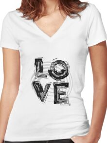 Love, black and white. Women's Fitted V-Neck T-Shirt