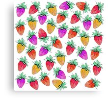 Bright Colorful Watercolor Fruity Strawberries Canvas Print