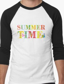 summer time (happy type) Men's Baseball ¾ T-Shirt
