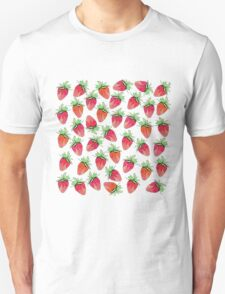 Bright Colorful Watercolor Fruity Strawberries T-Shirt