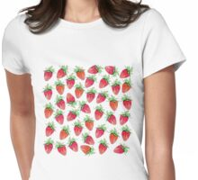 Bright Colorful Watercolor Fruity Strawberries Womens Fitted T-Shirt