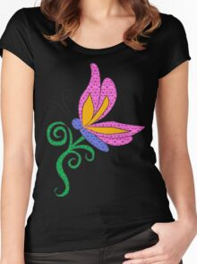 Patterened Butterfly Women's Fitted Scoop T-Shirt