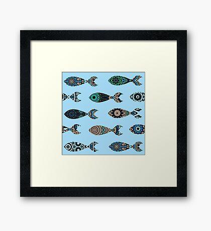 Seamless pattern with mandalas-fish Framed Print