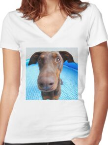 Cute red doberman Women's Fitted V-Neck T-Shirt