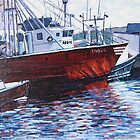 Red Boats Reflections-Gloucester, MA by Richard Nowak
