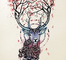 Watercolor Sakura Deer by Miss Megs