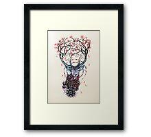 Watercolor Sakura Deer Framed Print