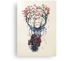 Watercolor Sakura Deer Canvas Print