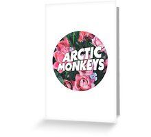 Pink roses Arctic Monkeys logo Greeting Card