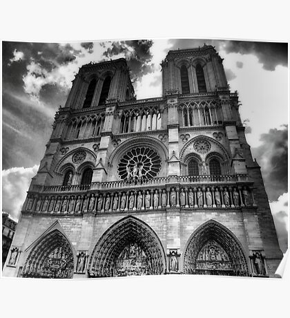 Notre Dame in black and white Poster
