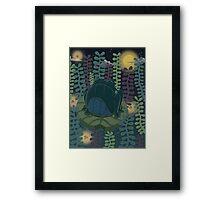 Frog in a neon pond Framed Print