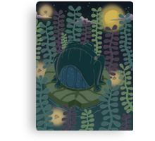 Frog in a neon pond Canvas Print