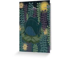 Frog in a neon pond Greeting Card
