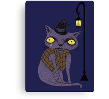 Sad Cat with Moonlight Memories Canvas Print