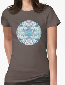 Teal Blue, Pearl & Pink Floral Pattern T-Shirt