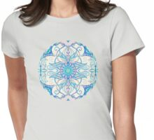 Teal Blue, Pearl & Pink Floral Pattern Womens Fitted T-Shirt