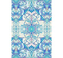 Teal Blue, Pearl & Pink Floral Pattern Photographic Print