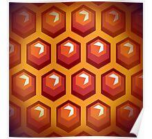 Bee honey cells.  Poster