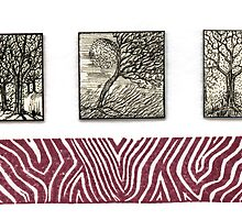 Inchie Trio With Linocut Zebra  by Catherine  Howell