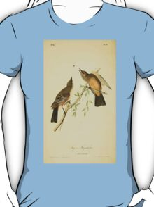 James Audubon Vector Rebuild - The Birds of America - From Drawings Made in the United States and Their Territories V 1-7 1840 - Says Flycatcher T-Shirt